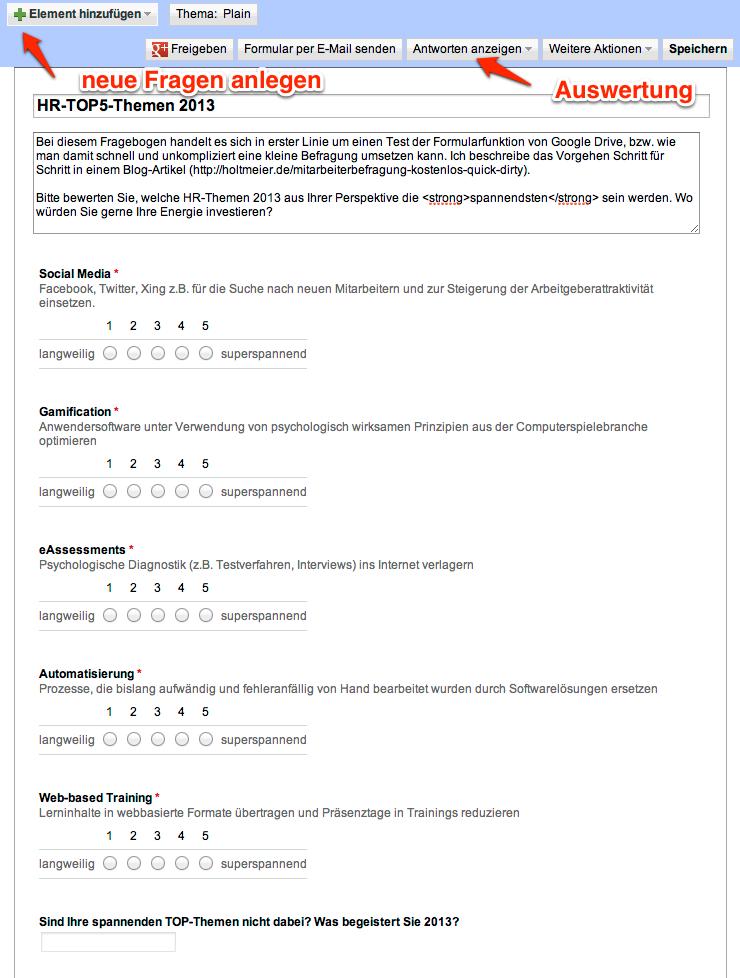 screenshot 2 fragebogen anlegen - Mitarbeiterbefragung Muster