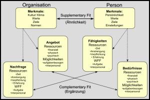 Abbildung: Unterschiedliche Konzeptualisierungen von P-O Fit (aus Kristof, 1996) (WFF = Wissen, Fähigkeiten und Fertigkeiten)