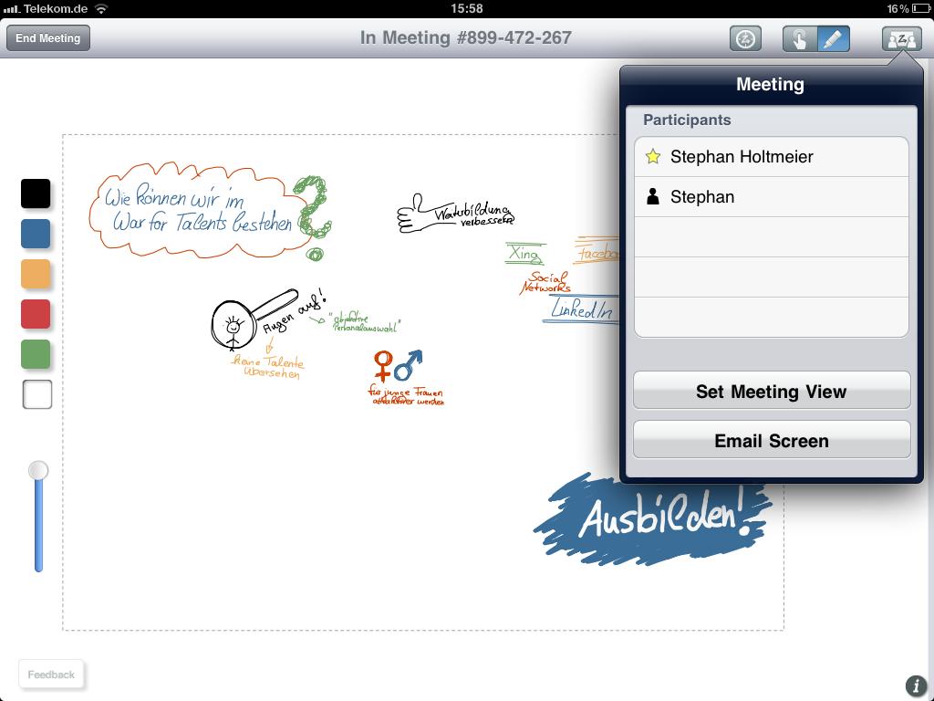 Screenshot der iPad-App ZigZag Board.