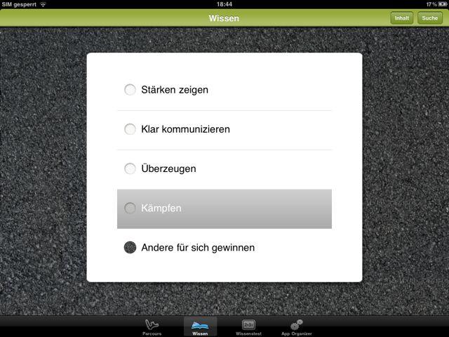"""Screenshot der iPad-App """"Sich durchsetzen"""" aus der Reihe """"Kompakt Coach"""" vom Haufe-Verlag in Kooperation mit der Süddeutschen Zeitung"""