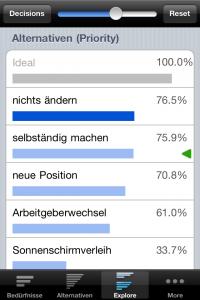 Screenshot 4: So sieht das Endergebnis aus. Die Job-Alternative mit der besten Passung wird ganz oben, die mit der geringsten ganz unten angezeigt.