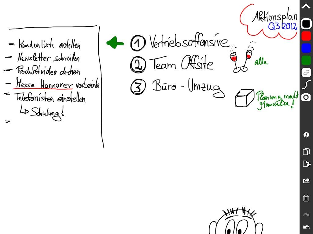 Screenshot der App Jot!, mit der das iPad zum mehr oder weniger vollwertigen Whiteboard wird.